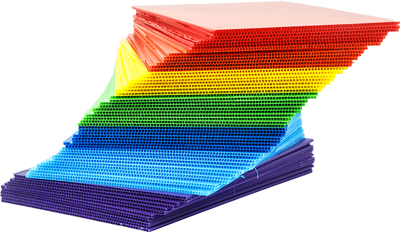 stack of red, yellow, blue, green, purple, cyan coroplast material